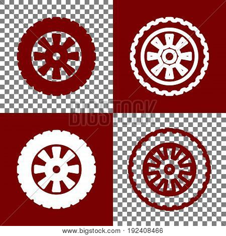 Road tire sign. Vector. Bordo and white icons and line icons on chess board with transparent background.
