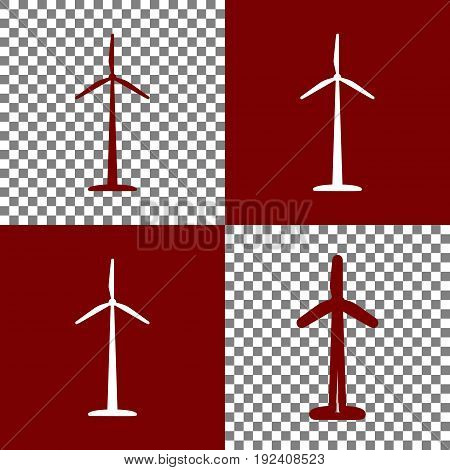 Wind turbine logo or sign. Vector. Bordo and white icons and line icons on chess board with transparent background.