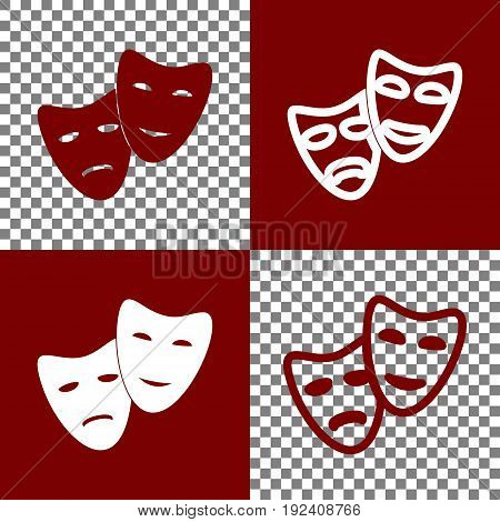 Theater icon with happy and sad masks. Vector. Bordo and white icons and line icons on chess board with transparent background.