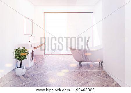 Wood Floor Bathroom, Side View Toned