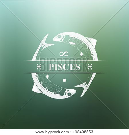 Pisces Zodiac sign, Horoscope, tattoo, vintage badge, vector illustration