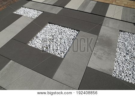 Sett blocks background texture. Tiled decorative pavement.