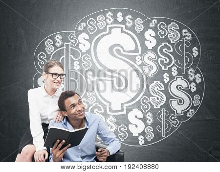 African Man And Blond Woman, Dollar Cloud