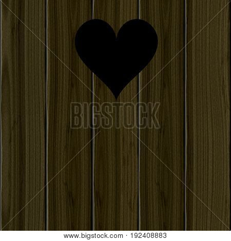 Dark wooden planks with black heart lovely romantic decoration