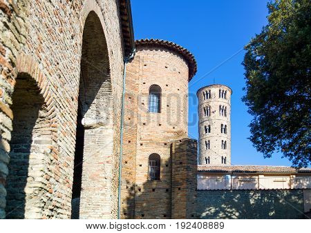 Italy Ravenna the Teodorico royal palace and in the background the bell tower od S.Apollinare Nuovo.