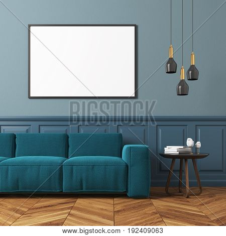 Gray Living Room, Blue Sofa
