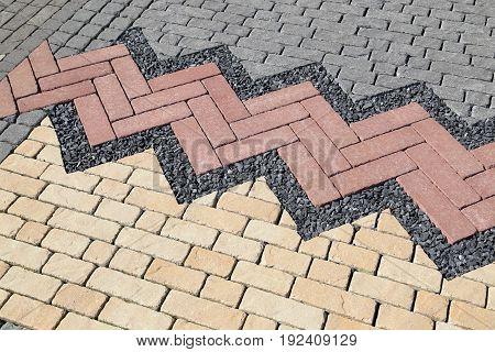 Sett blocks background texture. Tiled colorful decorative pavement.