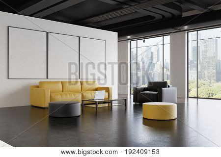 Office waiting room interior with a yellow sofa a gray armchair a poster gallery on a white wall and a narrow table with a laptop on it. Side. 3d rendering mock up
