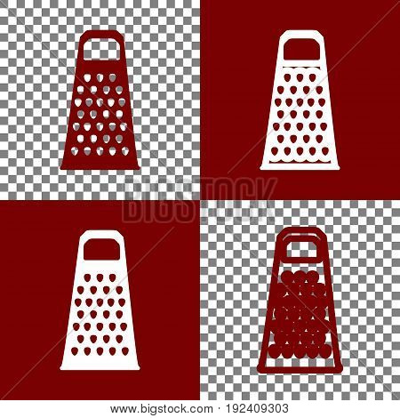 Cheese grater sign. Vector. Bordo and white icons and line icons on chess board with transparent background.