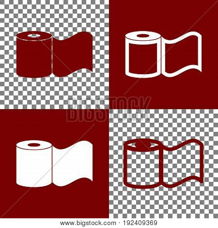 Toilet Paper sign. Vector. Bordo and white icons and line icons on chess board with transparent background.