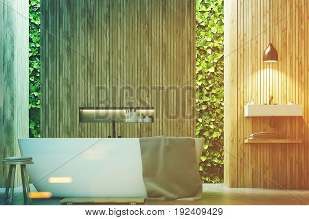 Eco Bathroom, A Sink And Wood Toned