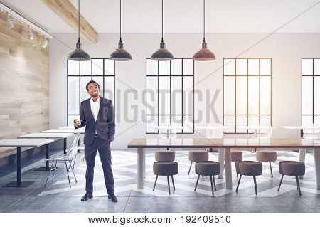 Cafe With Tables, Round Chairs, Shelves Man