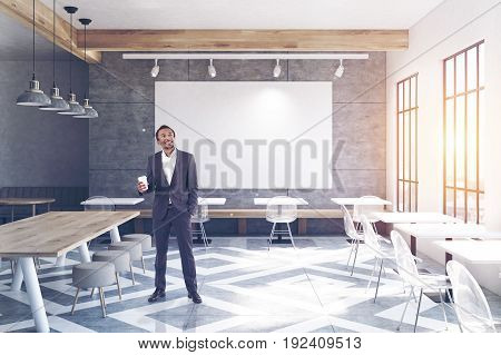 Cafe With Tables, Round Chairs, Big Poster Man