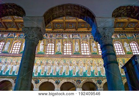 Ravenna Italy - March 1 2012: The central nave mosaics of the S.Apollinare Nuovo basilica