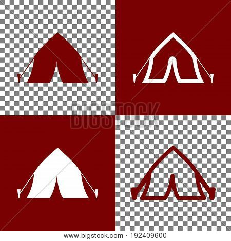 Tourist tent sign. Vector. Bordo and white icons and line icons on chess board with transparent background.