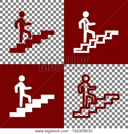 Man on Stairs going up. Vector. Bordo and white icons and line icons on chess board with transparent background.