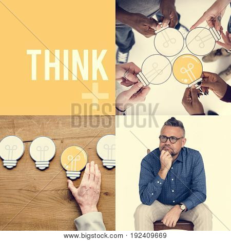 People Set of Diversity People with Ideas Inspiration Studio Collage
