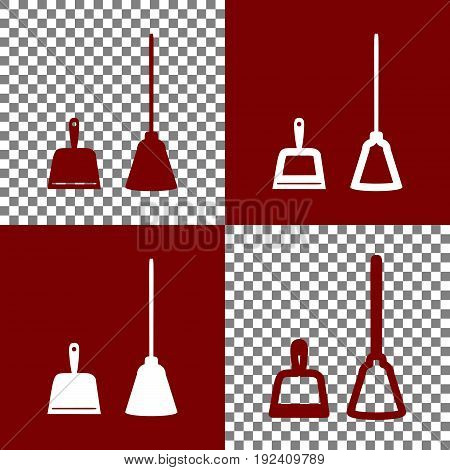 Dustpan vector sign. Scoop for cleaning garbage housework dustpan equipment. Vector. Bordo and white icons and line icons on chess board with transparent background.