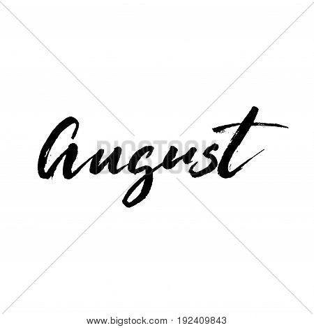 August brush lettering. Vocation cards, banners, posters design. Handwritten modern brush pen calligraphy isolated. Vector illustration stock vector.
