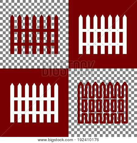 Fence simple sign. Vector. Bordo and white icons and line icons on chess board with transparent background.