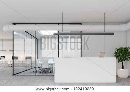 Modern office lobby with gray and glass walls a white reception counter with two laptops standing on it a meeting room and an open space office. 3d rendering mock up