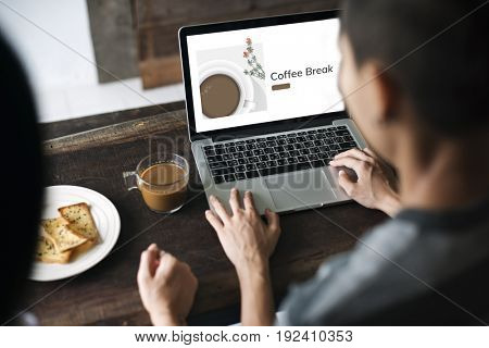 Illustration of coffee cup decoration cafe commercial on laptop