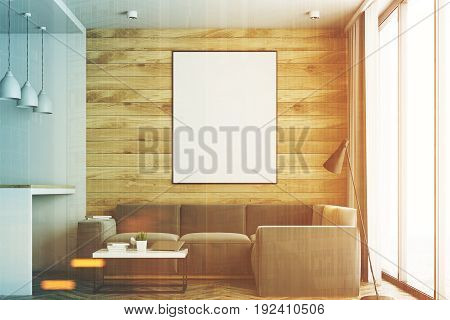 Living room in a studio apartment with wooden and white walls wooden floor. Bar table with stools. Vertical poster. Closeup. 3d rendering mock up toned image