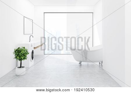 Side view of a white bathroom interior with a washing machine white wooden floor a tree in a pot a sink and a tub. Panoramic window. Close up. 3d rendering mock up