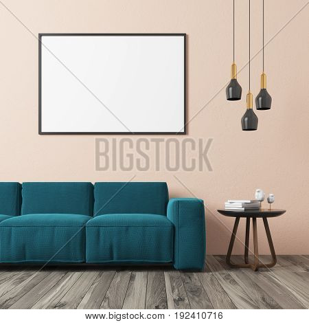 Living room interior with a beige wall a wooden floor a framed horizontal poster hanging above a blue green sofa and a coffee table with book and glasses. 3d rendering mock up