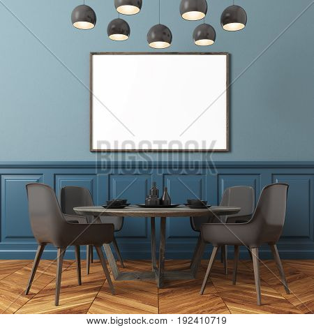 Dining room interior with blue walls a horizontal poster hanging above a table with black chairs and a modern lamp. 3d rendering mock up