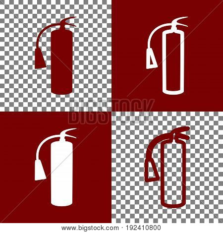 Fire extinguisher sign. Vector. Bordo and white icons and line icons on chess board with transparent background.