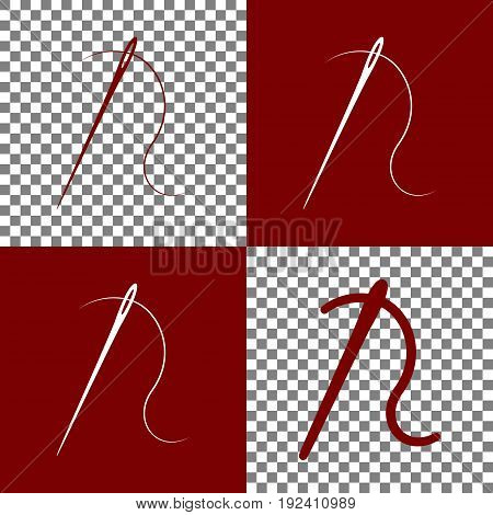 Needle with thread. Sewing needle, needle for sewing. Vector. Bordo and white icons and line icons on chess board with transparent background.