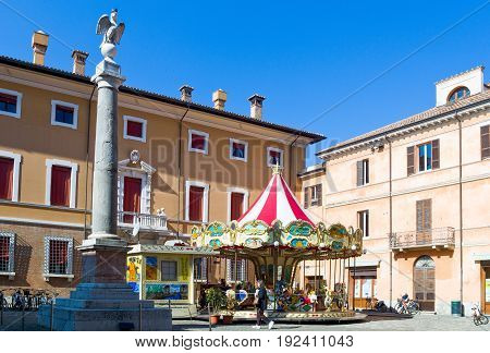 Ravenna Italy - March 1 2012: A carousel in Piazza XX Settembre.