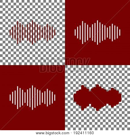 Sound waves icon. Vector. Bordo and white icons and line icons on chess board with transparent background.