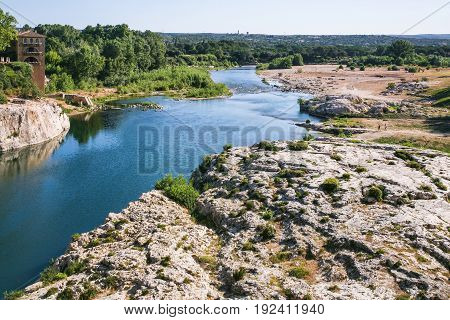 Riverbank Of Of Gardon River Near Pont Du Gard