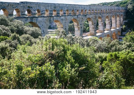 Pont Du Gard Through Gardon River In France