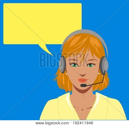 Beautiful blond telephone operator with earphone vector illustration with blank balloon