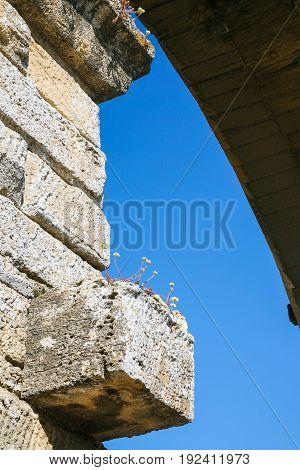 Stone Support Of Aqueduct Pont Du Gard Close Up