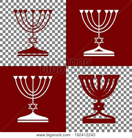 Jewish Menorah candlestick in black silhouette. Vector. Bordo and white icons and line icons on chess board with transparent background.