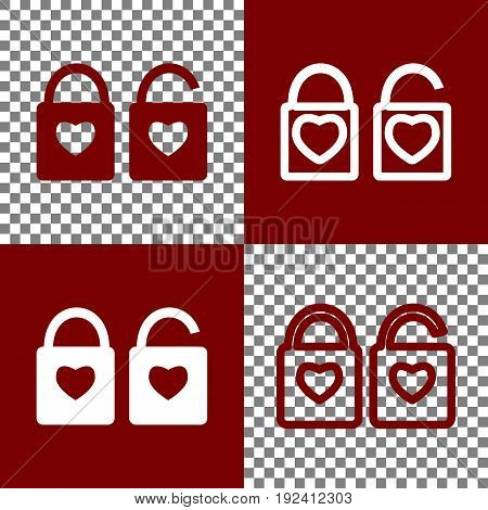 lock sign with heart shape. A simple silhouette of the lock. Shape of a heart. Vector. Bordo and white icons and line icons on chess board with transparent background.