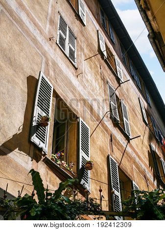 Wall Of Residential House In Old City Of Nice