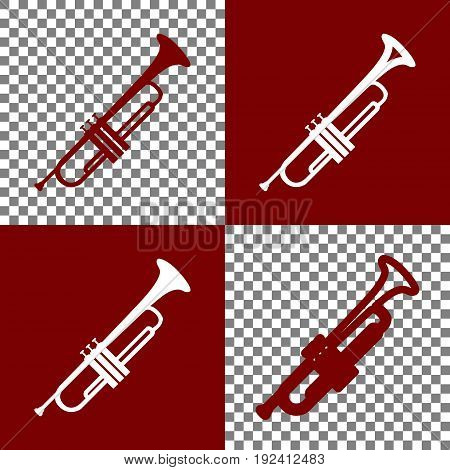 Musical instrument Trumpet sign. Vector. Bordo and white icons and line icons on chess board with transparent background.