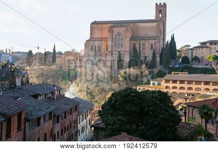 Basilica In Siena City On Hill In Winter