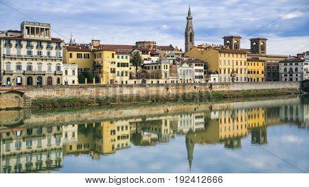 Arno River And Houses On Lungarno Delle Grazie