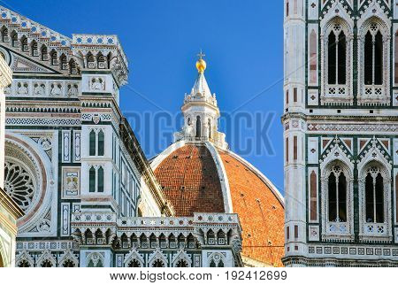 travel to Italy - cupola of Santa Maria del Fiore Duomo Cathedral in Florence city in sunny winter day poster