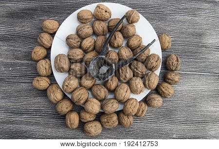 A plate of dry walnuts, the most wonderful walnut pictures