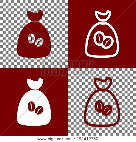 Coffee bag Icon. Coffee bag. Vector. Coffee bag Icon Button. Vector. Bordo and white icons and line icons on chess board with transparent background.