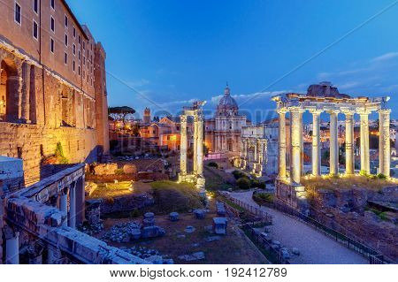 View of the Roman Forum at sunset. Rome. Italy.
