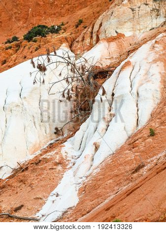 Orange And White Slope Of Sandstone Mountain