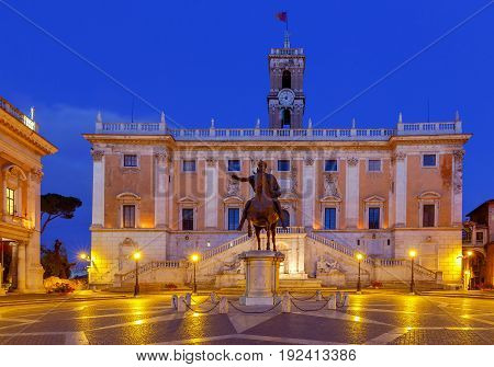A view of the Capitol Square in night illumination. Rome. Italy.